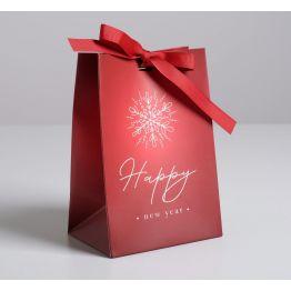 Пакет подарочный с лентой Happy New Year, 13 × 19 × 9 см   5012998