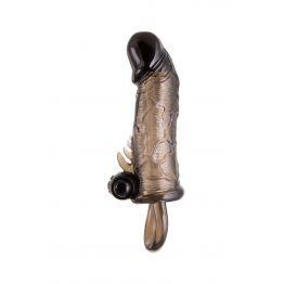 Насадка Toyfa XLover, для увеличения размера с кольцом, TPE, черная прозрачная, 14.5 см
