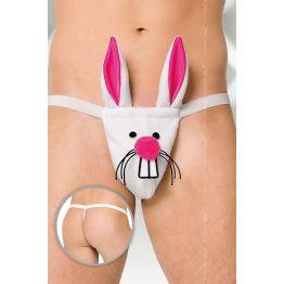 Стринги мужские Кролик SoftLine Collection, бело- розовый, S/L